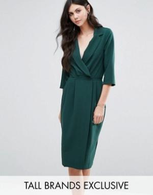 Alter Tall Платье с рукавами 3/4 и запахом спереди. Цвет: зеленый