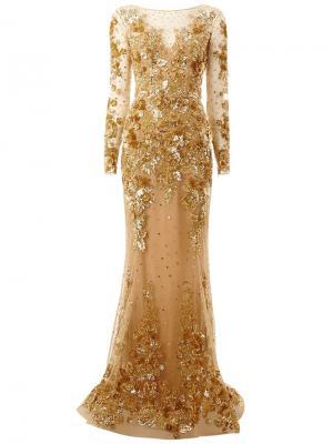 Декорированное вечернее платье Zuhair Murad. Цвет: металлический