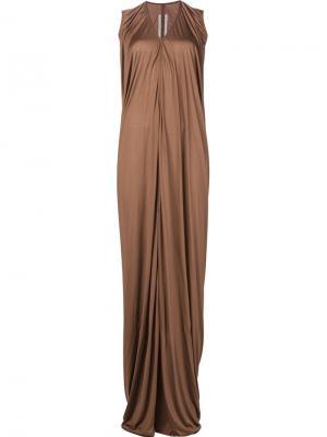 Драпированное платье Rick Owens. Цвет: коричневый