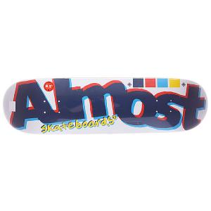 Дека для скейтборда  S5 Off Register White 32 x 8.5 (21.6 см) Almost. Цвет: синий,голубой,красный,желтый,белый