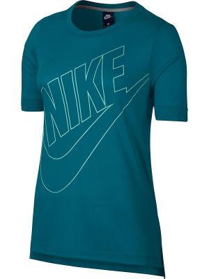 Футболка W NSW TOP LOGO Nike. Цвет: синий, светло-зеленый