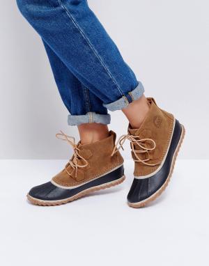 Sorel Кожаные ботильоны на шнуровке Out N About. Цвет: коричневый