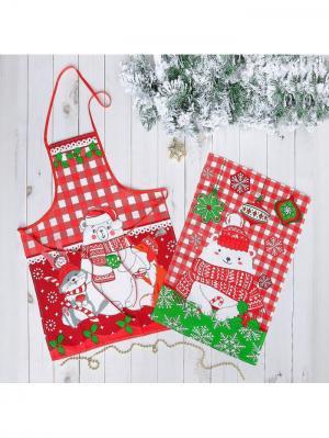 Набор кухонный Новогодняя ярмарка. Цвет: светло-зеленый, белый, красный