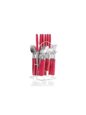 Набор столовых приборов на подставке Floret 24 предмета Elff Ceramics. Цвет: розовый