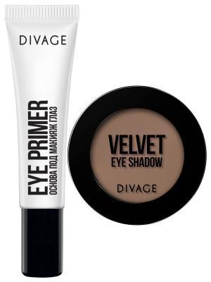 Набор №108 основа под макияж глаз eye primer + тени velvet тон 7316 DIVAGE. Цвет: прозрачный, хаки