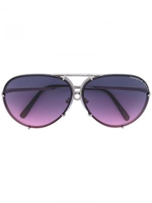Солнцезащитные очки в круглой оправе Porsche Design. Цвет: металлический