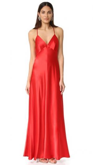 Атласное вечернее платье-комбинация Jill Stuart. Цвет: вишня