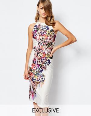 True Violet Платье миди с халтером и цветочным узором. Цвет: мульти