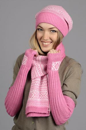 Комплект: шапка, шарф, митенки Marhatter. Цвет: темно- розовый, белый