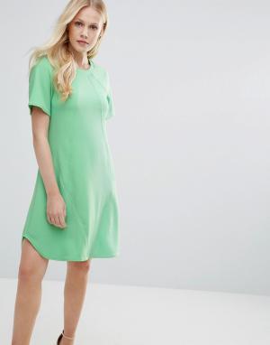 Closet London Платье-туника с отделочными швами - Зеленый 5448875