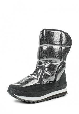 Дутики King Boots. Цвет: серебряный