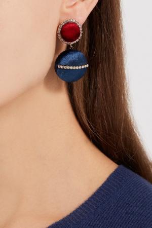 Бархатные серьги с кристаллами Lisa Smith. Цвет: красный/синий/белый
