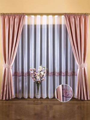 Комплект штор Wisan. Цвет: розовый, белый