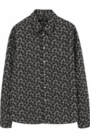 Хлопковая рубашка с принтом Billionaire. Цвет: черный