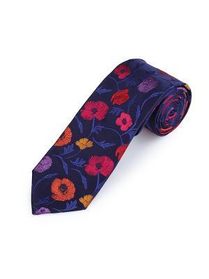 Галстук Poppy Garden Floral Smalt Duchamp. Цвет: антрацитовый, желтый, красный, малиновый, оранжевый, сиреневый