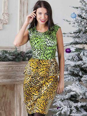 Платье MARY MEA. Цвет: желтый, черный, зеленый