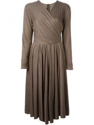 Платье с запахом Louis Feraud Vintage. Цвет: коричневый