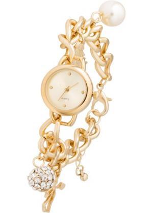 Наручные часы с подвесками (золотистый) bonprix. Цвет: золотистый