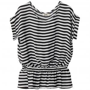 Блузка объемная в полоску на эластичном поясе MOLLY BRACKEN. Цвет: в полоску белый/ черный
