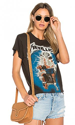 Отражающаяся в темноте футболка metallica ride the lightening Madeworn. Цвет: черный