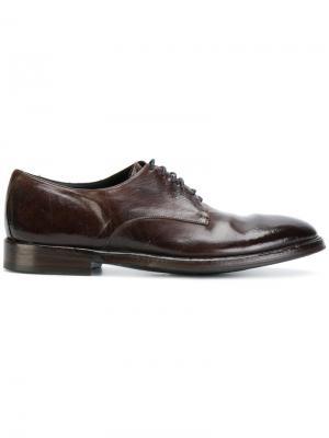 Ботинки Дерби с потертой отделкой Alberto Fasciani. Цвет: коричневый