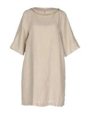 Короткое платье 120% LINO. Цвет: бежевый