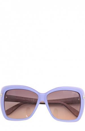 Солнцезащитные очки с футляром Tom Ford. Цвет: голубой