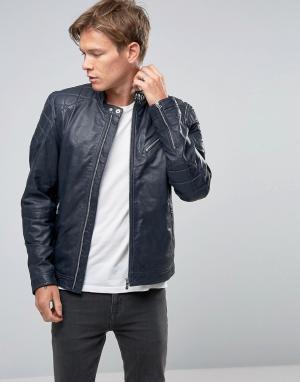 Goosecraft Темно-синяя кожаная байкерская куртка со стеганой отделкой. Цвет: темно-синий