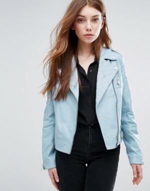 Urbancode Байкерская куртка с вышивкой. Цвет: синий