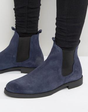 Zign Замшевые ботинки челси. Цвет: темно-синий