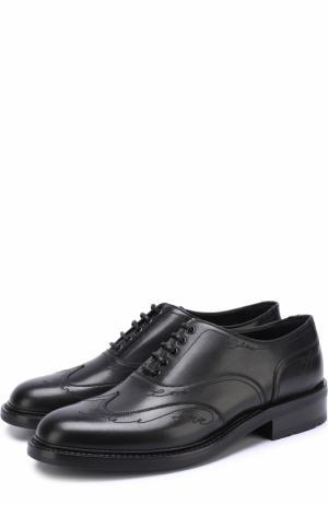 Кожаные оксфорды с вышивкой Saint Laurent. Цвет: черный