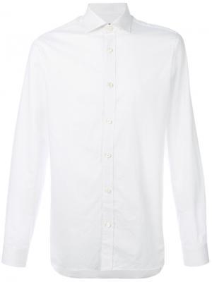 Рубашка в микро-горох Z Zegna. Цвет: белый