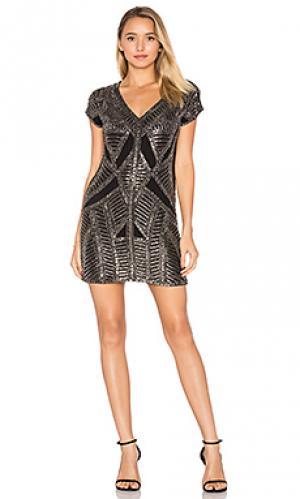 Мини платье с отделкой бисером marinola Karina Grimaldi. Цвет: черный