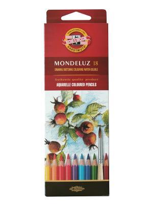 Набор карандашей акварельных Mondeluz (18 цветов) Koh-i-Noor. Цвет: красный