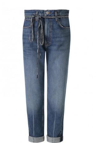 Укороченные джинсы с потертостями и завышенной талией Proenza Schouler. Цвет: синий