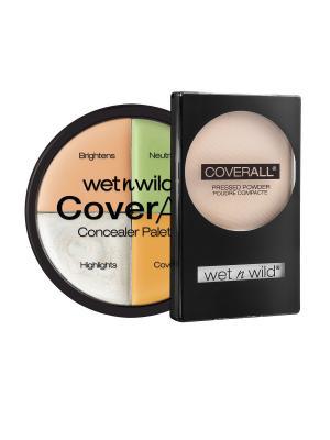 Набор № 86 корректор 4 тона + пудра coverall Wet n Wild. Цвет: прозрачный, бежевый, зеленый, розовый