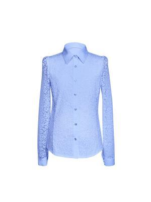 Блузка для девочки с длинным рукавом 7 одежек. Цвет: голубой