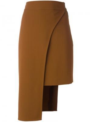 Асимметричная юбка Cady Cushnie Et Ochs. Цвет: коричневый