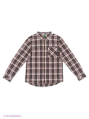 Рубашка United Colors of Benetton. Цвет: черный, коричневый