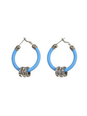 Серьги Happy Garnets. Цвет: голубой, белый, золотистый