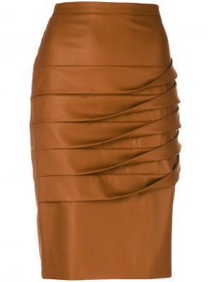 Юбка с плиссированной драпировкой Marco De Vincenzo. Цвет: коричневый
