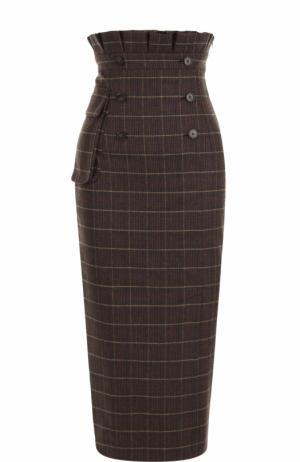 Шерстяная юбка-карандаш с завышенной талией Stella Jean. Цвет: темно-коричневый