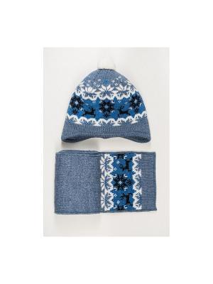 Шапка, шарф Tricotier. Цвет: синий, голубой