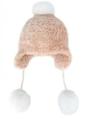 Вязаная шапка с помпонами Yves Salomon. Цвет: розовый и фиолетовый