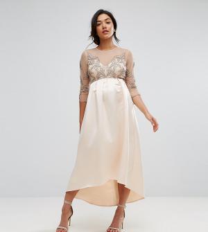 Maya Maternity Платье миди асимметричной длины. Цвет: розовый