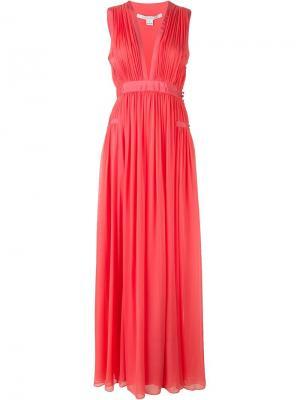 Длинное платье с глубоким вырезом спереди Diane Von Furstenberg. Цвет: розовый и фиолетовый
