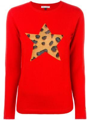 Джемпер со звездой с леопардовым принтом Bella Freud. Цвет: красный