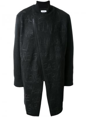 Пальто с асимметричной застежкой-молнией Selfmade By Gianfranco Villegas. Цвет: серый