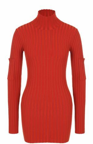 Удлиненная водолазка фактурной вязки By Malene Birger. Цвет: красный