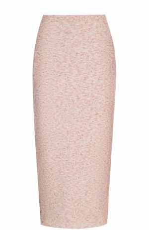 Шерстяная юбка-карандаш Victoria Beckham. Цвет: светло-розовый